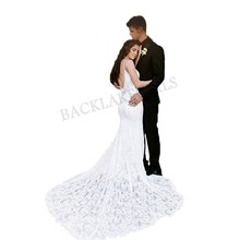 Spaghetti Straps Wedding Dress Lace Mermaid Formal V-neck