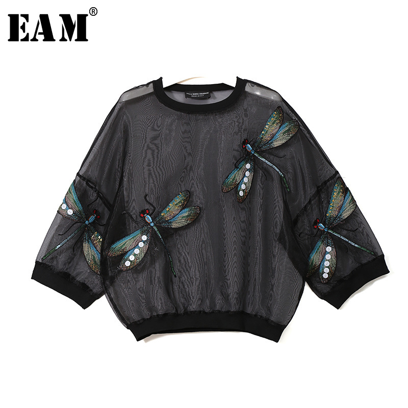 [EAM] 2019 New Autumn Winter Round Neck Long Sleeve Big Size Organza Stitch Three-dimensional Shirt Women Blouse Fashion JL958