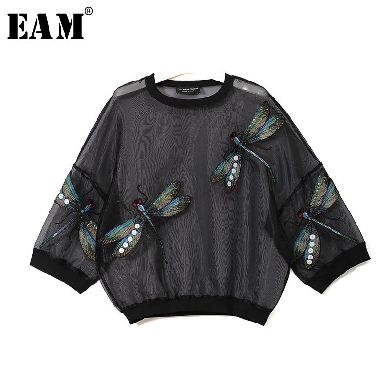 [EAM] 2020 New Spring Autumn Round Neck Long Sleeve Big Size Organza Stitch Three-dimensional Shirt Women Blouse Fashion JL958
