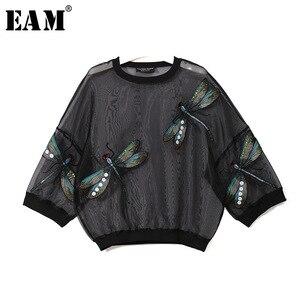 Image 1 - [EAM] 2020 nowa wiosna jesień okrągły dekolt z długim rękawem duży rozmiar Organza ściegu trójwymiarowa koszula kobiety bluzka moda JL958