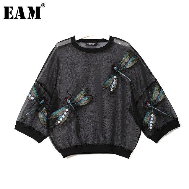 [EAM] 2020 nowa wiosna jesień okrągły dekolt z długim rękawem duży rozmiar Organza ściegu trójwymiarowa koszula kobiety bluzka moda JL958