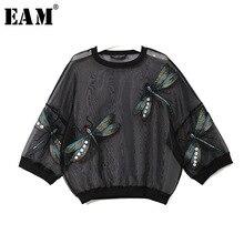 [EAM] 2020 חדש אביב סתיו עגול צוואר ארוך שרוול גדול גודל אורגנזה תפר שלושה ממדי חולצה נשים חולצה אופנה JL958