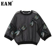 [Eam] 2020春の新作秋ラウンドネック長袖ビッグサイズオーガンザステッチ三次元シャツ女性ブラウスファッションJL958