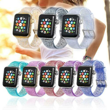 Glitter Bling Silicone Watch Band Strap For Apple iWatch Series 1/2/3/4 Fashion Soft 3 4 2 1