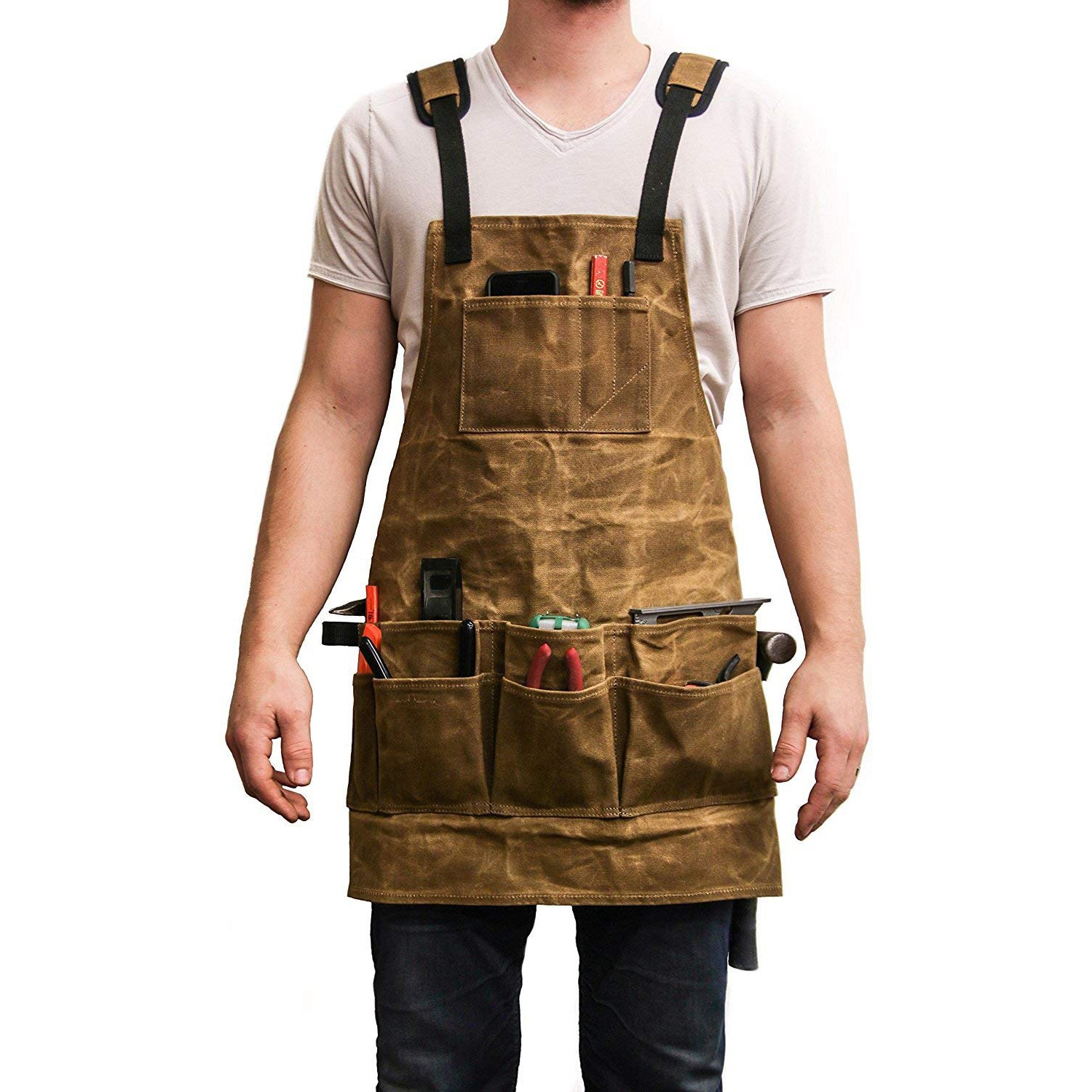 Thickness Waxed Canvas Apron Hairdresser Barber With Pockets And Leather Water Resistant Professional Vintage Brown For Dropship
