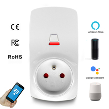 French Standard WIFI Smart Socket EU Plug LED Display 220V 16A Remote Control Time Switch Work For Amazon Alexa Google Assistant