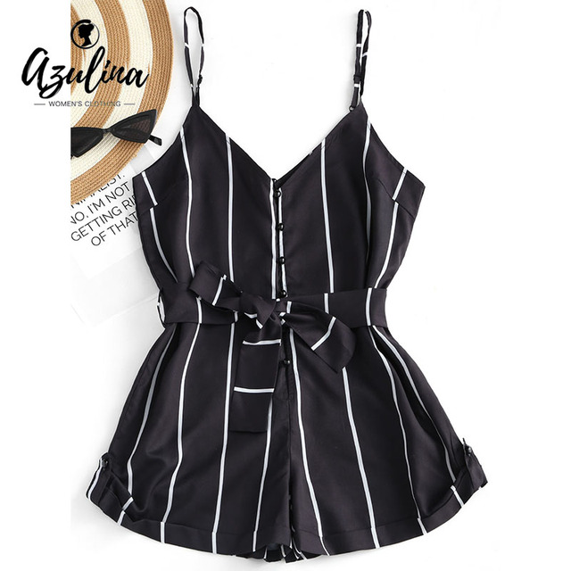 ZAFUL 2019 Striped Belted Cami Romper Women Jumpsuit Casual Spaghetti Strap Buttons Playsuit Outfits Beachwear Summer Overalls 5
