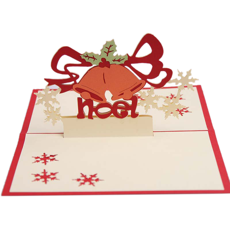 Christmas Cards 3D Pop Up Merry Christmas Bell Handmade