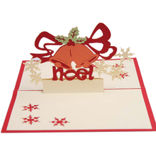 3D Pop Up Merry Christmas bell Handmade Custom Greeting Cards Gifts Souvenirs