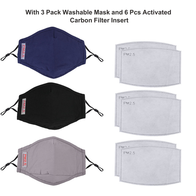 3pcs/1pc Washable Face Mouth Mask Anti Dust Mask PM2.5 Filter Windproof Mouth-muffle Bacteria Proof Flu Face Masks Care Reusable 5