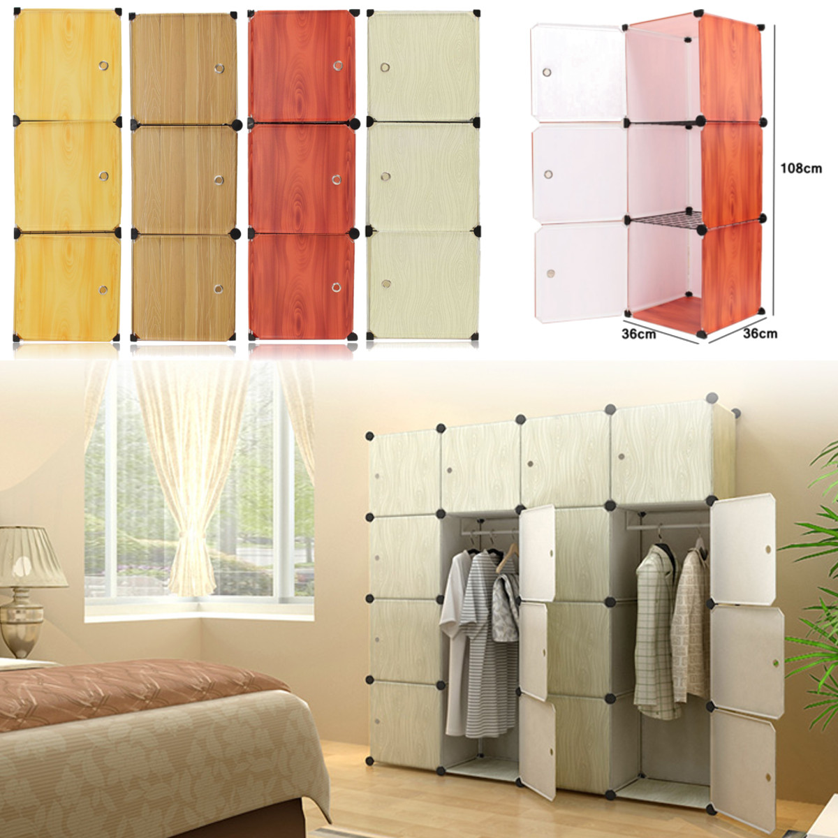 36x36x108cm DIY Resin Wood Grain Wardrobe Closet Cabinet Box Storage Organizer Four Colors Brown Yellow Red