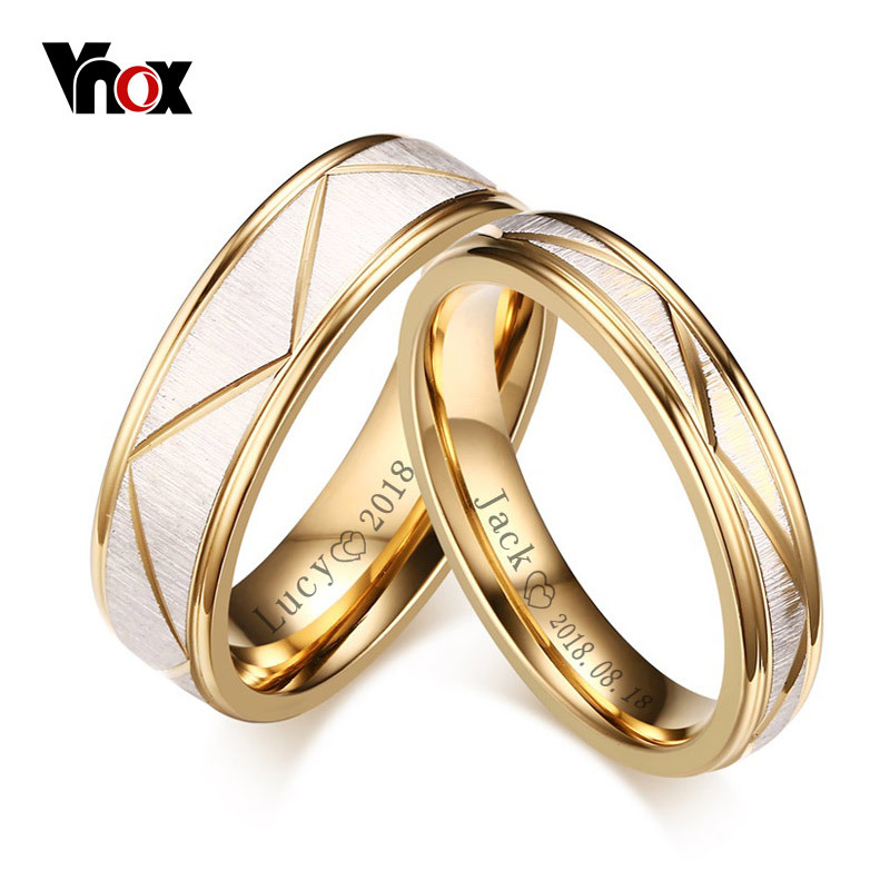 VNOX Wedding-Rings Couple Bands Engrave Name Stainless-Steel Matte Finish Gold-Color
