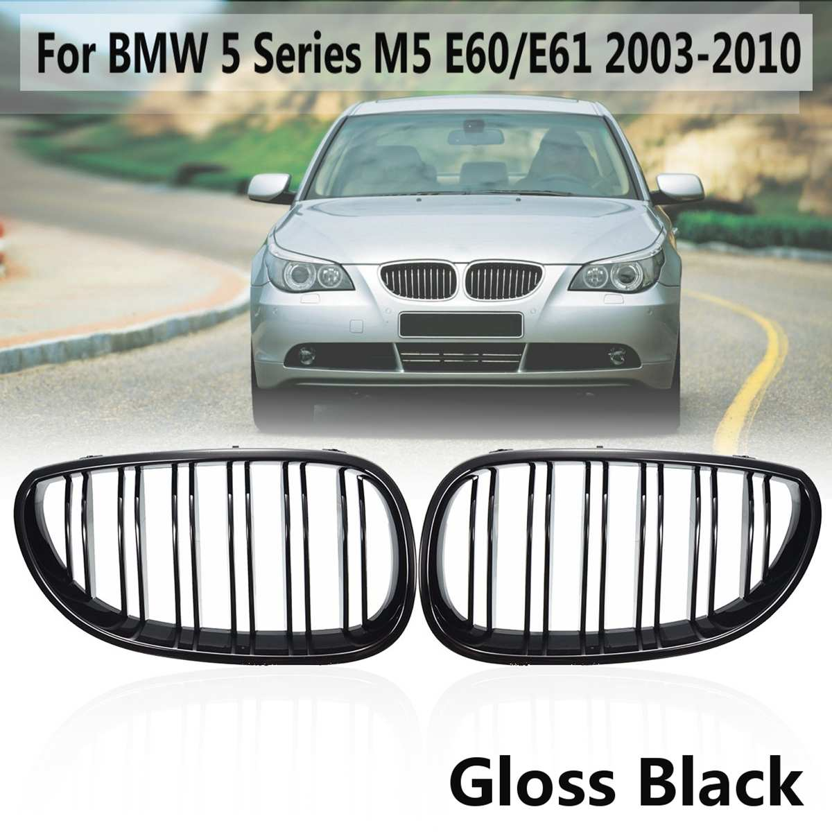 Car Front Sport Grill Kidney Grilles Grill For <font><b>BMW</b></font> <font><b>5</b></font> <font><b>Series</b></font> M5 <font><b>E60</b></font>/E61 2003 2004 2005 2006 2007 2008 2009 2010 Gloss Black image