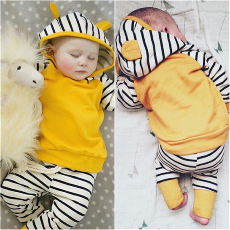 CANIS 2019 New Newborn Toddler Kids Baby Boys Girls Outfits Clothes T-shirt Tops Hooded Striped + Pants Casual Clothing Set boy