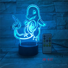 POKEMON GO Action Figure 3D Lampu RGB Pikachu Eevee Turtle Burung Naga Api Pokeball Bola Bulbasaur Bay Hadiah Lampu Malam AW-647(China)