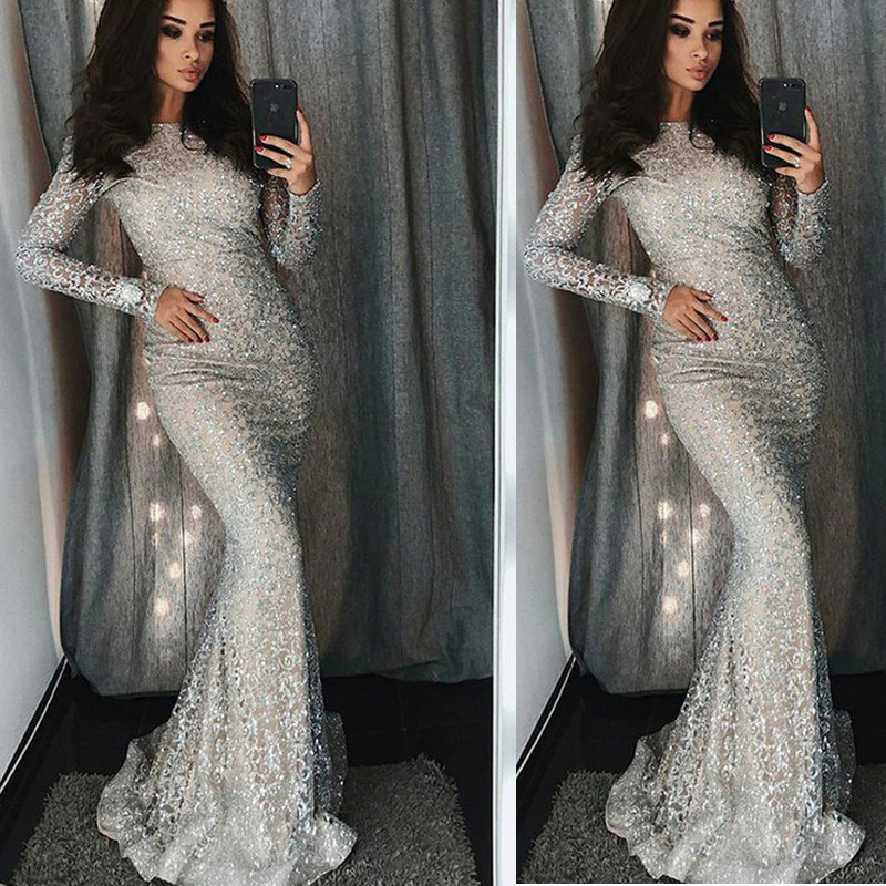 Sequined   Evening     Dresses   Long Sexy High Neck Long Sleeve Mermaid Sparkle Lace Women's Gorgeous Formal Silver   Dress   Party Vestido