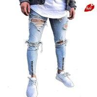 2019 Spring SummerJeans Men Big Hole Distressed Ripped Slim Moto Biker Denim Beggar Jeans Skinny Frayed Pencil Pants O8R2