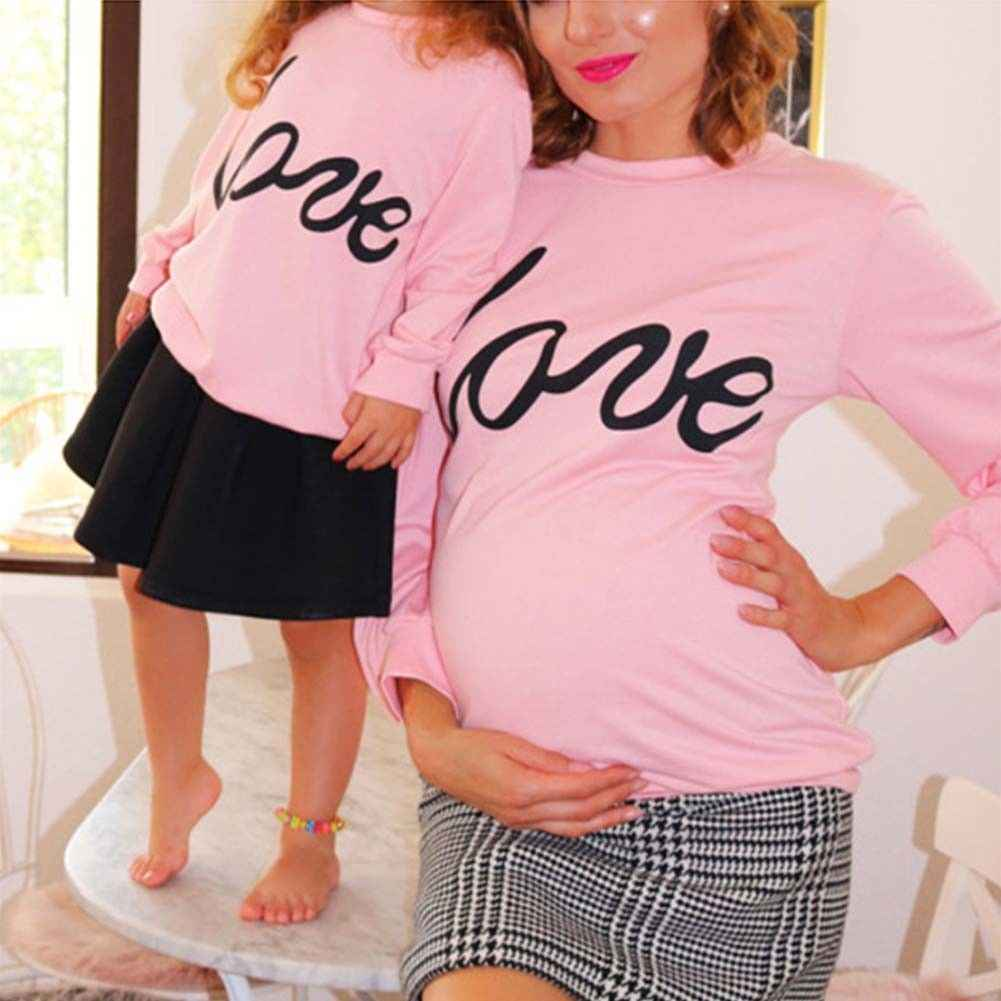 0a41046bcc223 Family Pregnant Mother and Daughter Matching Shirts Love Letters Printed  Long Sleeve Pink Hoodies Sweatshirt Outfits
