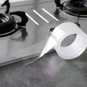 Image 2 - ウォールコーナーラインステッカーセラミックステッカー pvc 防水テープ浴室アクセサリー自己粘着透明ステッカー