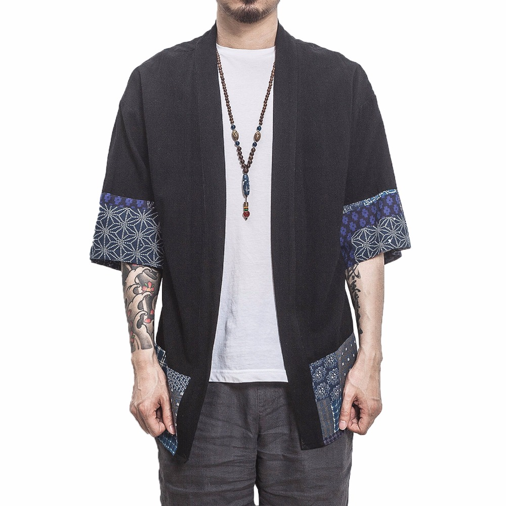 2019 Men Cotton Linen Shirts Men Kimono Traditional Open Stitch Shirt Male Three Quarter Sleeve Shirt Harajuku Mens Clothing 5XL Рубашка
