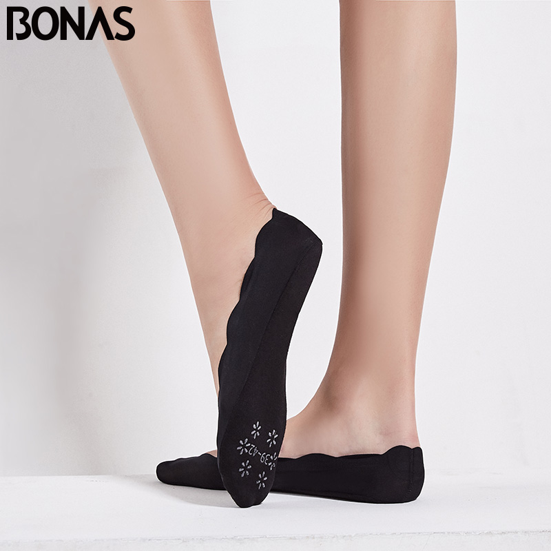 BONAS 2pairs Solid Ankle Low Cut Anti skid Sock Seamless Socks Slipper Invisible Women Cheap Nonslip Liner Boat Short Socks in Sock Slippers from Underwear Sleepwears
