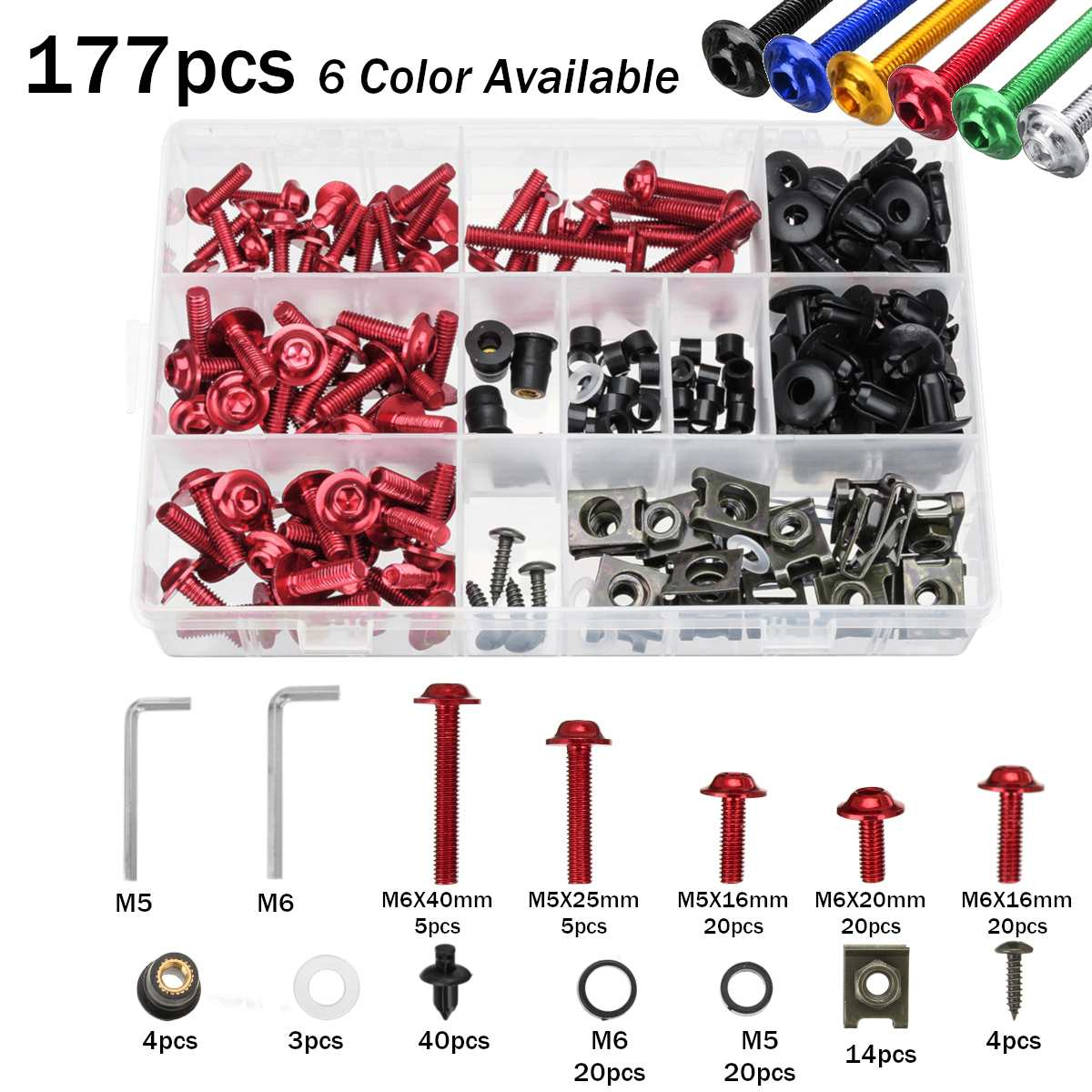 177pcs Motorcycle Full Fairing Bolt Kit Nuts Screws Clips Complete Set for Honda for Yamaha for Kawasaki for Suzuki Multi-color177pcs Motorcycle Full Fairing Bolt Kit Nuts Screws Clips Complete Set for Honda for Yamaha for Kawasaki for Suzuki Multi-color
