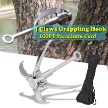Outdoor 4 Claws Survival Foldable Steel Hook Ice Rock Climbing Grappling Mountain Tool with 100FT Parachute Cord