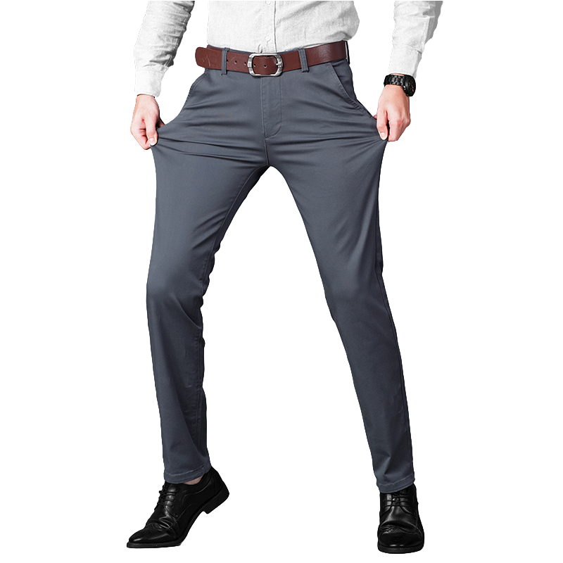 Autumn Casual Pant Men 2019 Business Stretch Cotton Straight Fit Trousers Male Formal Dress Pants Black Khaki Plus Size 42 44 46