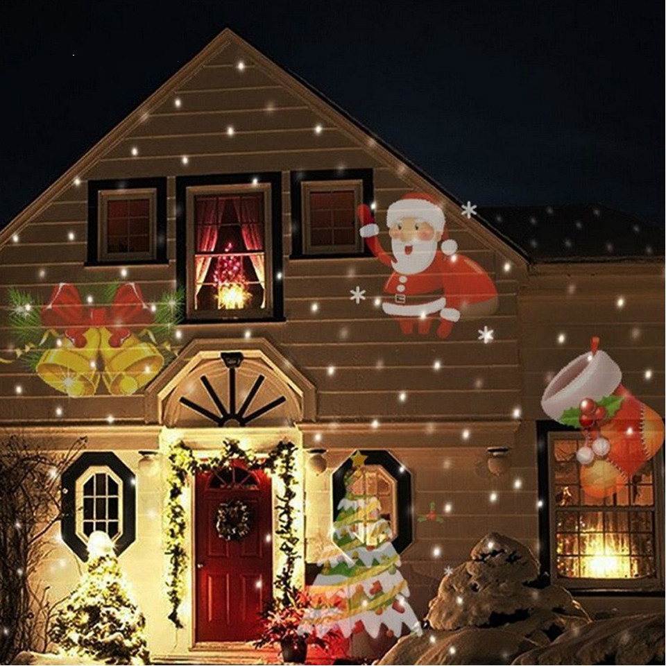 Outdoor Christmas LED Lamp Waterproof 12 Patterns 4w Laser Snowflake Projector Disco Home Garden Star Lights Indoor Decoration