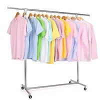 Wheel Stainless Steel Clothing Storage Racks Clothes Hanger Storage Holder Wardrobe Laundry Drying Rack