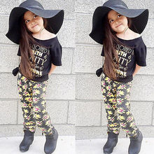 Toddler Baby Kids Girls Outfits Clothes Letter Printed Short Sleeve T-shirt Tops+Floral Flower Pants 2PCS Set Suit 1-6Y 2019