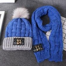 Çocuk şapkası sonbahar ve kış 3 12 yaşında yün eşarp seti (şapka ile) 6 çocuk 5 renk şapka eşarp seti el yapımı sıcak