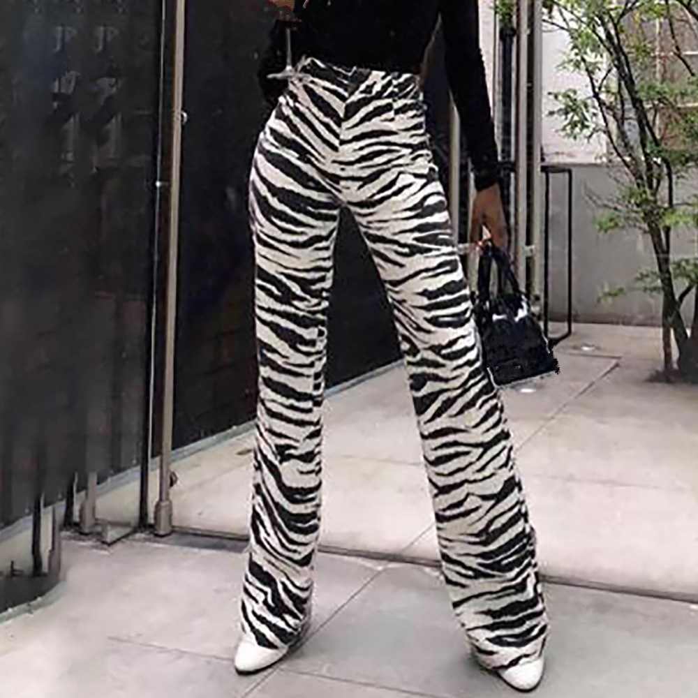 Women Fall Winter Zebra Print Wide Leg   Pants   Fashion Casual Trousers Sexy High Waist Bell Bottom   Pants