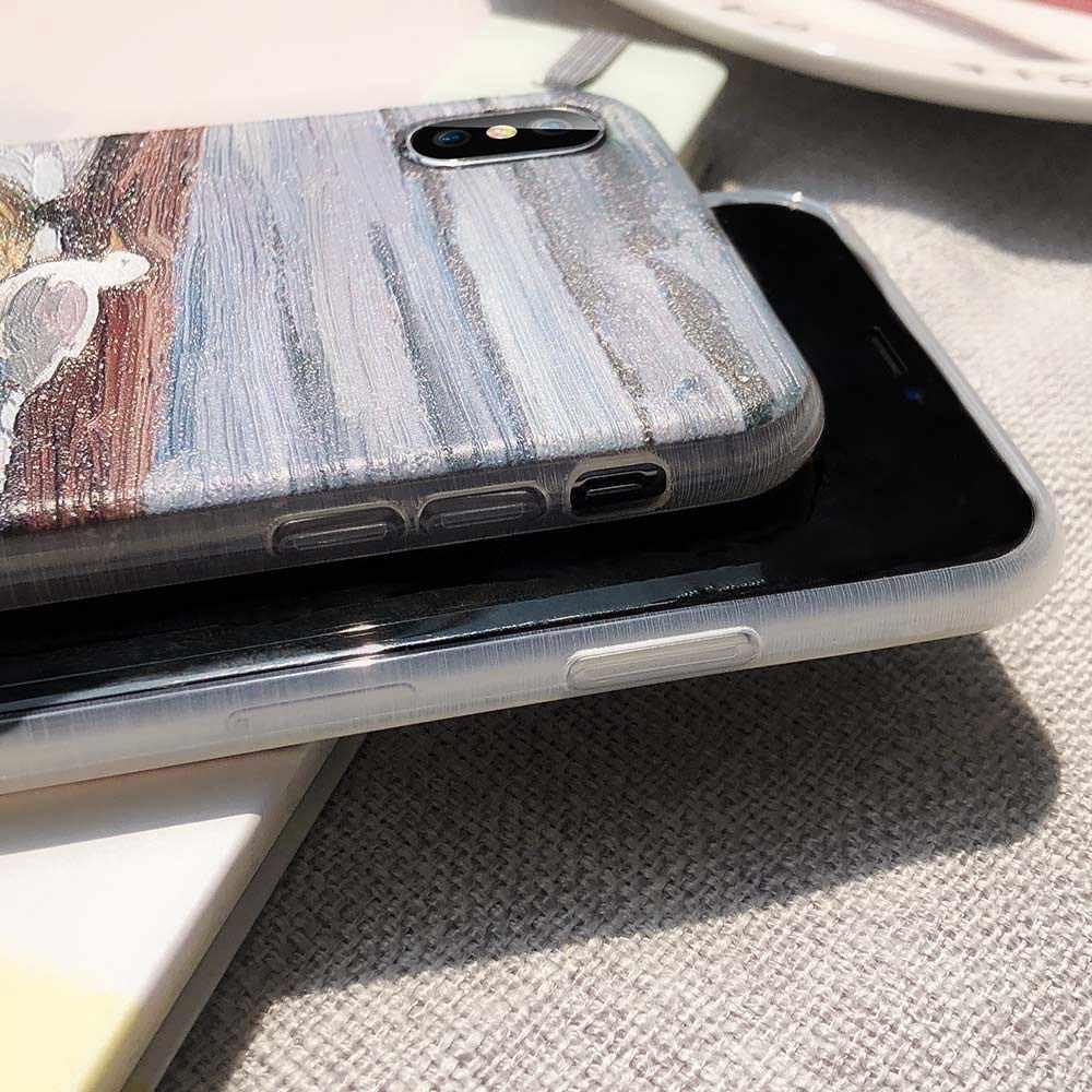 Caseier Tranh Sơn Dầu Ốp Lưng Dành Cho iPhone 6 6S 7 8 Plus X XS Nổi Ốp Điện Thoại Cho IPhone5 5 5S SE XR X Xsmax TPU Funda Couque