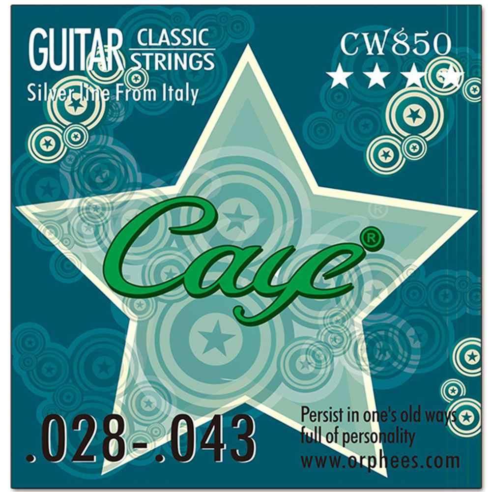 CAYE 6 قطعة/المجموعة الغيتار الكلاسيكي سلاسل واضح النايلون الفضة مطلي العادي التوتر الغيتار سلاسل الغيتار جزء الملحقات