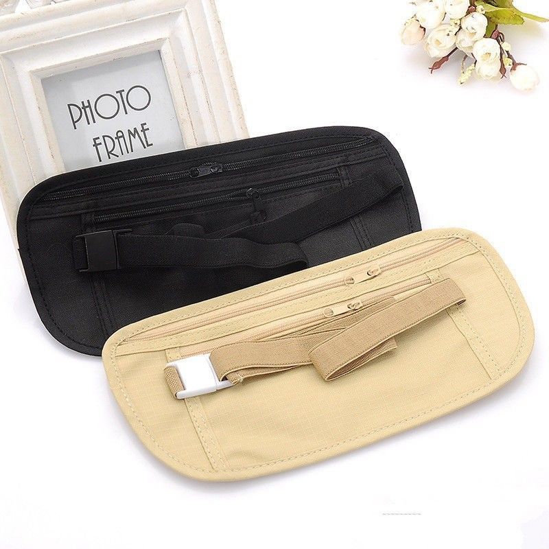 Travel Money Passport ID Card Waist Security Hidden Belt Holder Bag 13 X 26cm Security Wallet Black Khaki