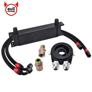 evil energy AN10 10Row Transmission Oil Cooler+Oil Adapter Filter Cooler Plate Kit+Stainless Steel Oil Hose Line Engine Parts