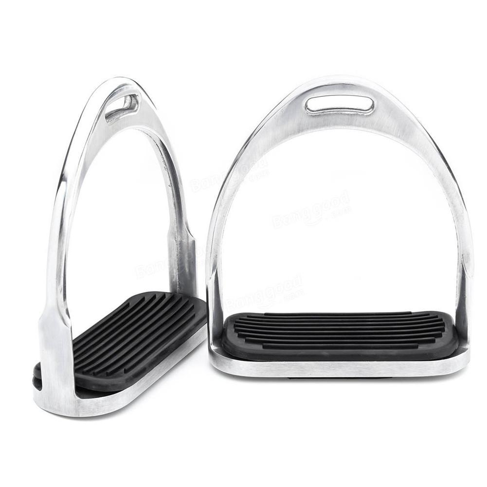 Image 4 - 1 Pair 120mm Stainless Steel Horse Stirrup Riding Equipment Equestrian Stirrups Anti slip Black Rubber Pad Horse Accessories-in Saddles from Sports & Entertainment