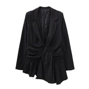 Image 4 - TWOTWINSTYLE レースアップ女性のセクシーな V ネック長袖黒ブレザー女性のコート春の秋のファッション OL 服 2020