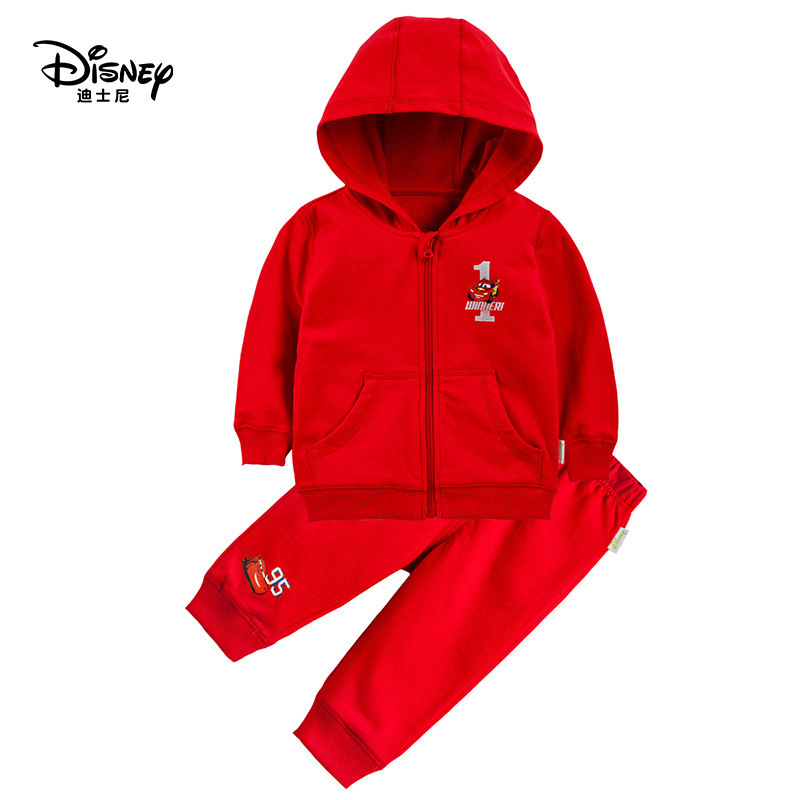 Disney Childrens Sports Suit Set For Boys And Girls Spring And Autumn Suit Pure Cotton Walking Solid Color Baby SuitDisney Childrens Sports Suit Set For Boys And Girls Spring And Autumn Suit Pure Cotton Walking Solid Color Baby Suit