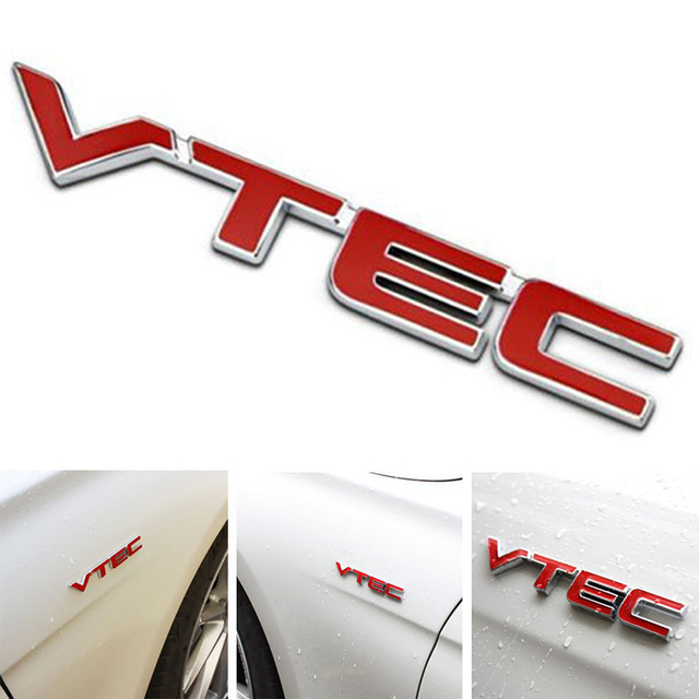 Newest Metal VTEC Logo Car Body Emblem Badge Sticker Decal for Honda Red+Silver