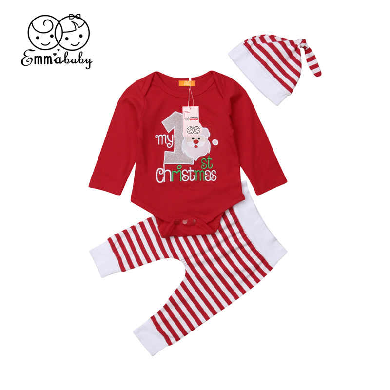 4ecfb95d012 Xmas Baby Girl Clothes Set My First Christmas Kid Party Outfit New Year Costume  Bodysuit+