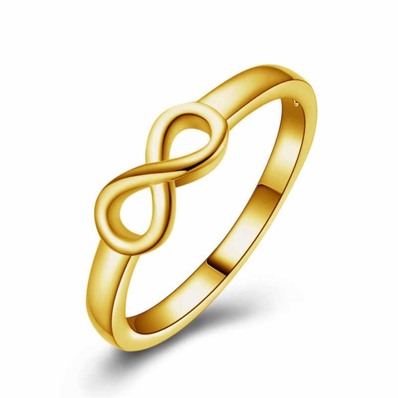Baru Perak Beruntung Nomor 8 Cincin untuk Wanita Perhiasan Cincin Pria Beberapa Pernikahan Cincin Punk Wanita Cincin Hitam gold Wanita