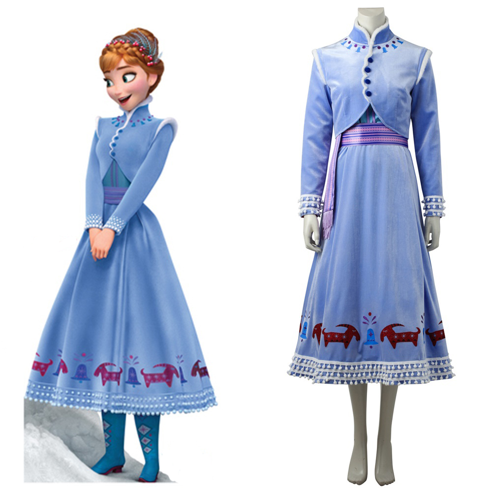 Olaf's Frozen Adventure Princess Anna Dress Cosplay Costume Coat Women's Halloween Dress