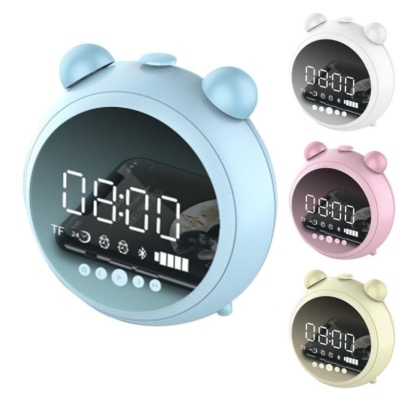 New Fashion Multifunction Mini Mirror Night Light Mute Alarm Clock Radio Wireless Bluetooth Stereo Bass Speaker High Quality