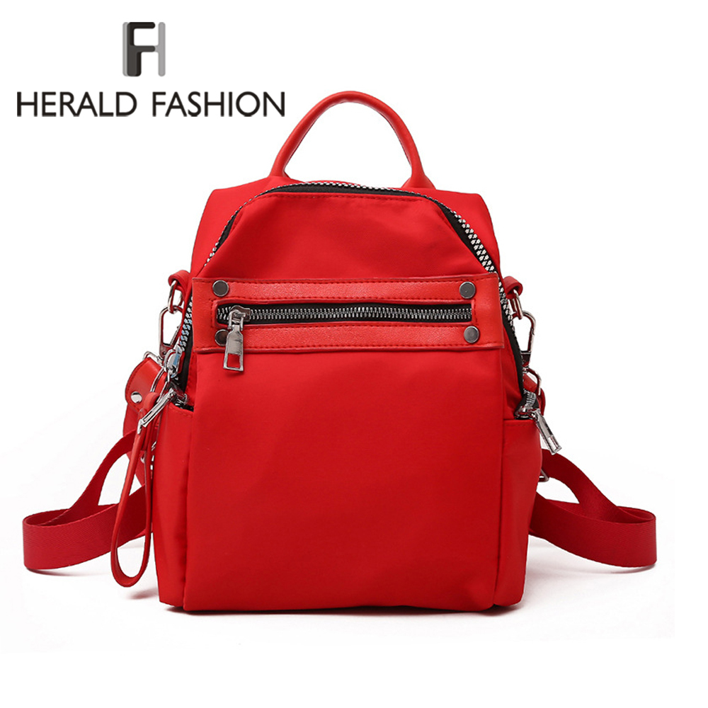 Herald Fashion Women Backpack Causal Nylon Back pack High Quality Female Shoulder bag School Backpacks for For Teenagers Girls fashion women backpack for school teenagers girls boys school bag ladies backpack men back pack for 15 6 laptop high quality