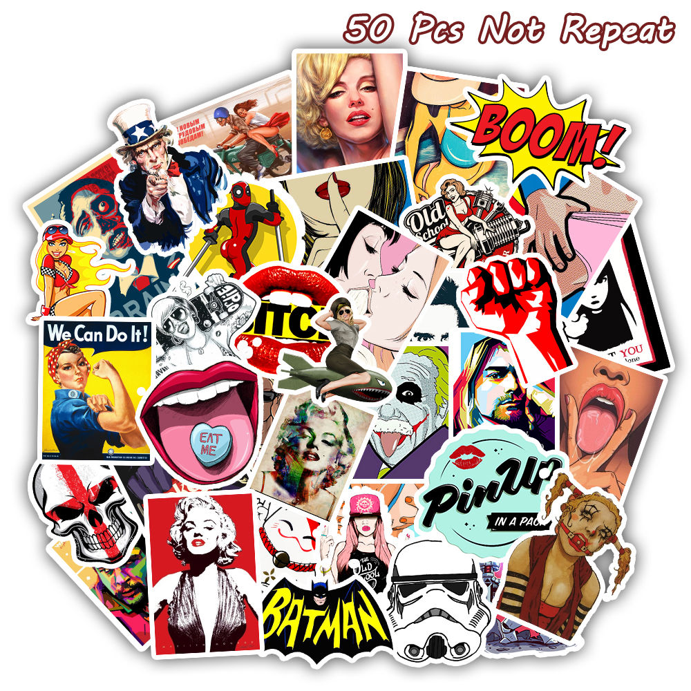 50 PCS Retro Style Sticker Sexy Pin up Girls Stickers for DIY Sticker on Skateboard Luggage Laptop Skateboard Decal Toy Sticker Car phone