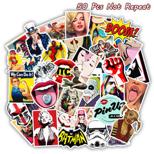 50 PCS Retro Style Sticker Sexy Pin up Girls Stickers for DIY Sticker on Skateboard Luggage Laptop Skateboard Decal Toy Sticker