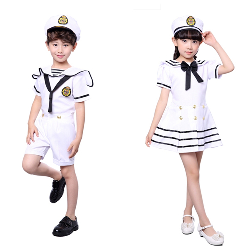 Home 90-170cm Kids Costumes For Navy Sailor Uniform Halloween Cosplay Girls Party Performance Boys Marines Fleet Clothing With Hat For Sale