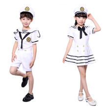 92e71e316b0 90-170 CM enfants Costumes pour marine marin uniforme Halloween Cosplay  filles fête Performance garçons Marines flotte vêtements.